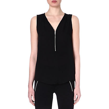 THE KOOPLES SPORT Silk and jersey tank top with zip neck (Black