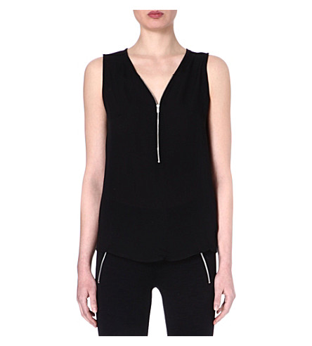 THE KOOPLES SPORT Silk-jersey tank top with zip neck (Black