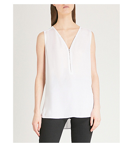 THE KOOPLES Zipper-front silk and jersey top (White