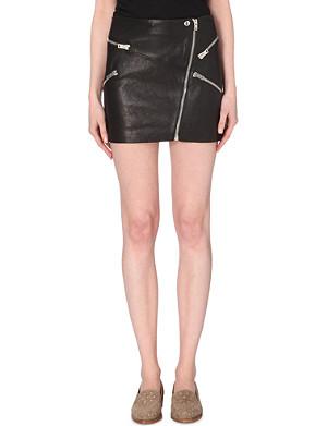 THE KOOPLES Zip adorned leather skirt