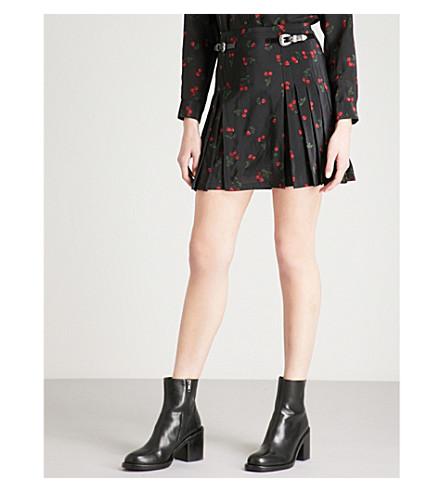 THE KOOPLES Cherry-print pleated silk mini skirt (Bla01