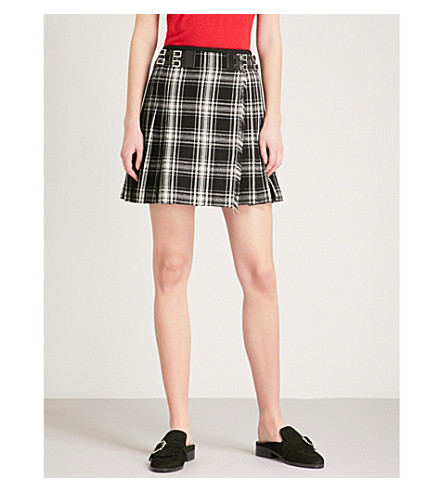 THE KOOPLES Checked woven mini skirt (Bla06