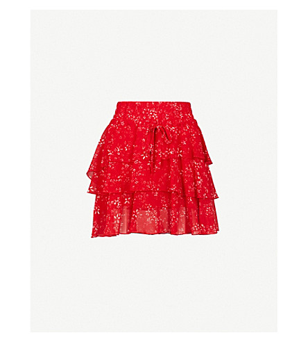THE KOOPLES Floral-print chiffon skirt (Red01