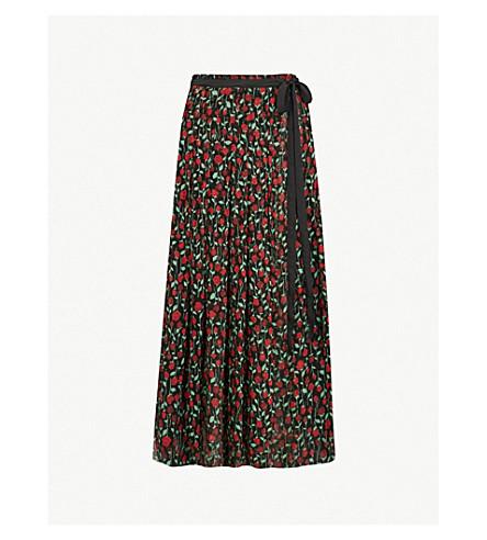 THE KOOPLES Floral-print chiffon skirt (Bla01