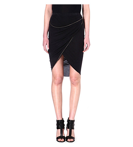 THE KOOPLES Draped asymmetric skirt (Black