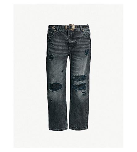 THE KOOPLES 被撕破高腰九分款牛仔裤(bl55)