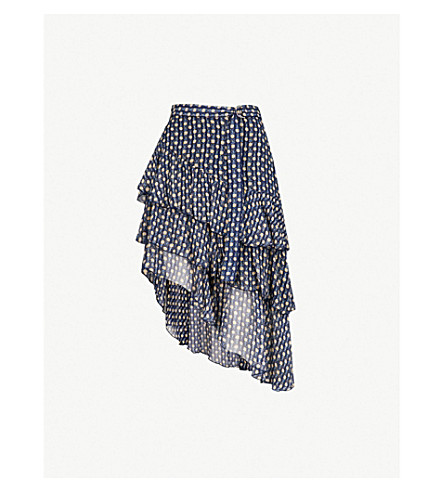 THE KOOPLES Asymmetric floral-print silk-blend skirt (Nav92
