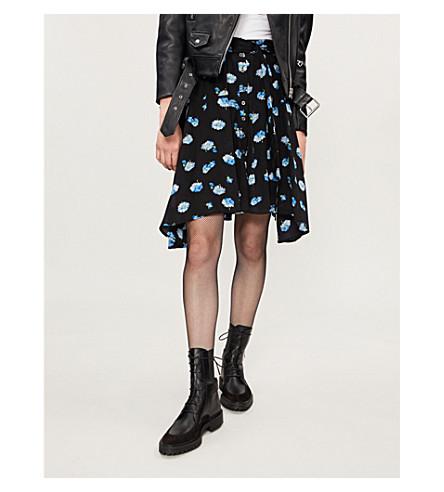 THE KOOPLES Floral-print silk skirt (Bla01