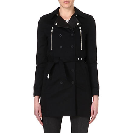 THE KOOPLES Leather-detailed trench coat (Black