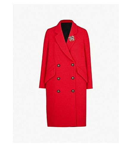 THE KOOPLES 胸针点缀双排扣梭织外套 (Red01