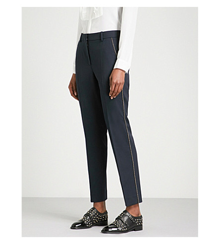 THE KOOPLES Bead-detail tapered stretch-wool trousers (Nav03