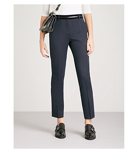 THE KOOPLES Leather-trimmed stretch-wool tapered trousers (Nav03