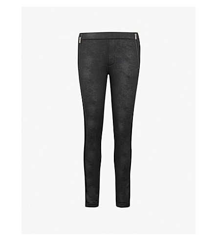 THE KOOPLES Velvet-trim faux-leather leggings (Bla01