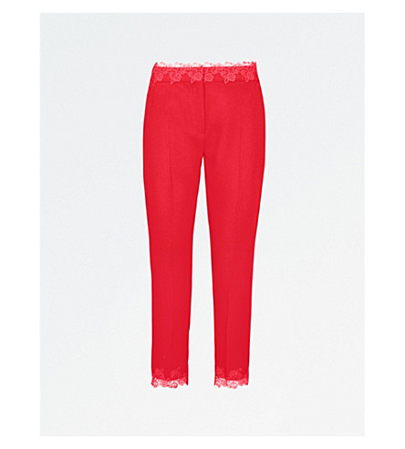 THE KOOPLES Lace-trim straight crepe trousers (Red38