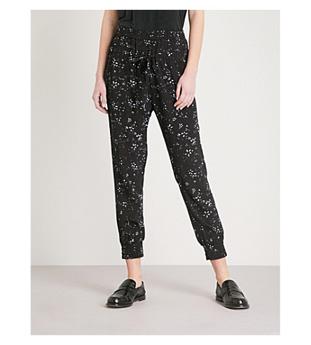THE KOOPLES Floral-print tapered crepe trousers (Bla01