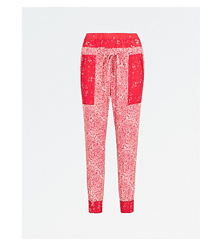 THE KOOPLES Floral-print tapered satin trousers (Red01