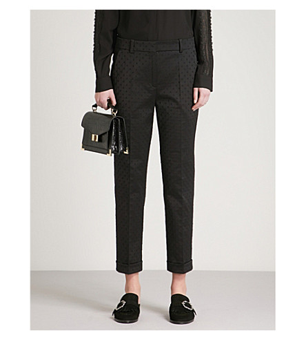 THE KOOPLES Straight cropped jacquard trousers (Bla01