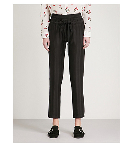 THE KOOPLES Striped relaxed-fit satin trousers (Bla01