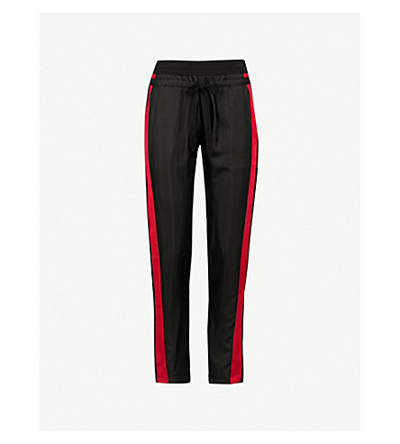 THE KOOPLES Striped-trim straight silk-satin trousers (Bla22