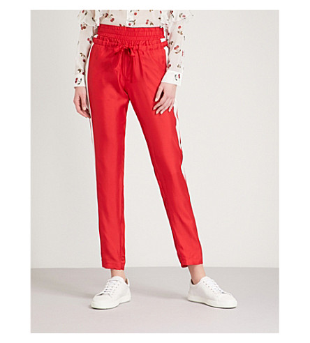 THE KOOPLES Striped-trim straight silk-satin trousers (Red21