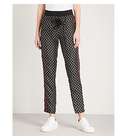 THE KOOPLES Floral-print silk tapered trousers (Bla01