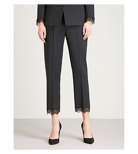 THE KOOPLES Lace-trim stretch-wool trousers (Nav02