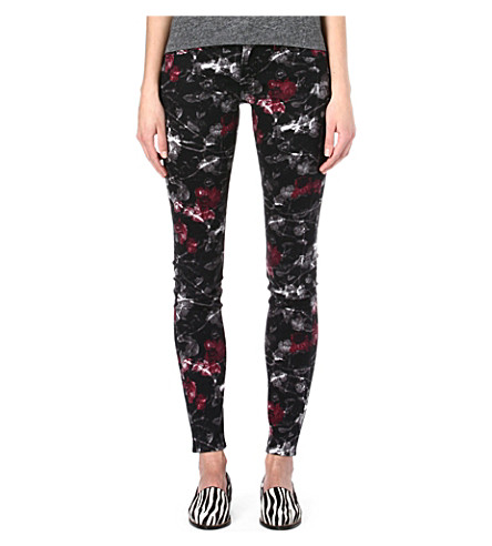 THE KOOPLES Faded Roses skinny mid-rise jeans (Black