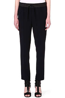 THE KOOPLES SPORT Flowing crepe trousers with leather