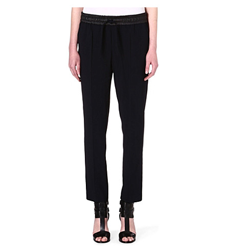 THE KOOPLES SPORT Flowing crepe trousers with leather (Black