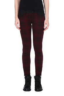 THE KOOPLES SPORT Square print mid-rise skinny jeans