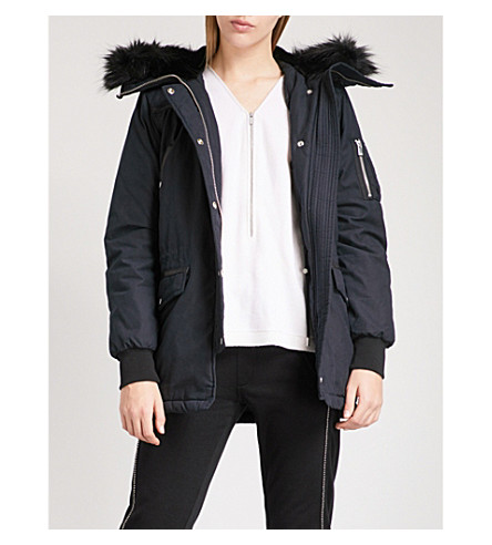 THE KOOPLES Faux-fur hood stretch-cotton and leather parka coat (Nav03