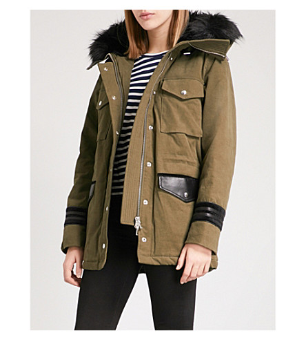 THE KOOPLES Faux-fur hood stretch-cotton and leather parka coat (Kak01