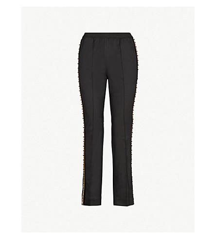 THE KOOPLES 点缀高腰常规版型斜纹裤子 (Bla01