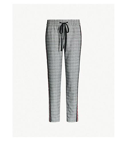 THE KOOPLES 高腰侧条纹格纹法兰绒直腿裤子 (Bla09
