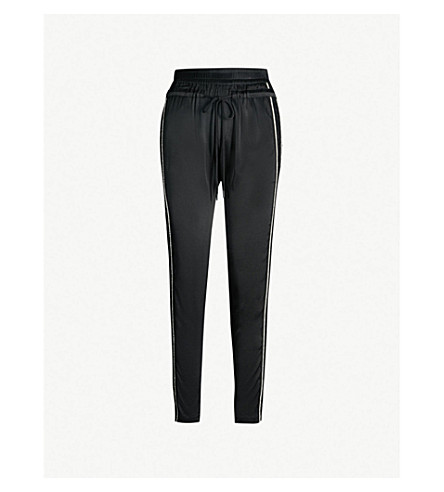 THE KOOPLES 水钻和蕾丝条纹修身版型缎布慢跑裤 (Bla01
