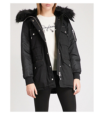 THE KOOPLES Leather-trimmed cotton parka coat (Bla01