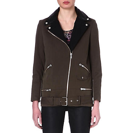 THE KOOPLES Contrast lapel parka (Kaki / black