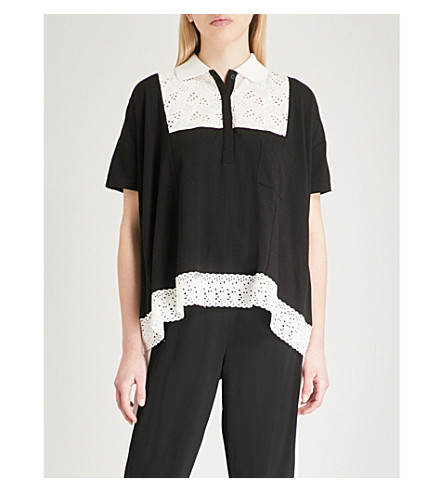 THE KOOPLES Broderie anglaise-panel cotton-blend polo top (Bla01