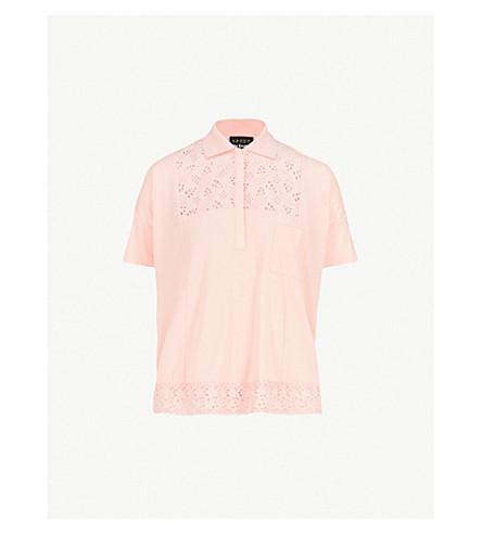 THE KOOPLES Lace-detail cotton-blend polo shirt (Pin01