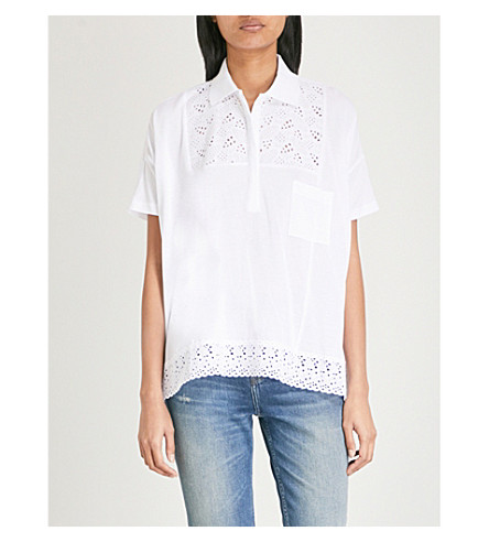 THE KOOPLES Lace-embroidered cotton-piqué polo shirt (Whi01
