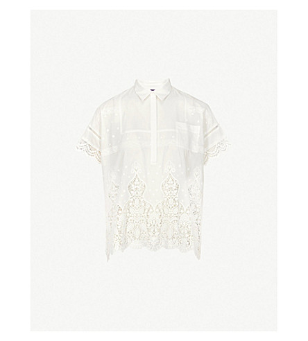THE KOOPLES Lace-detail cotton polo top (Whi01