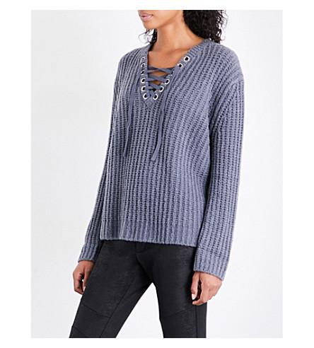 THE KOOPLES SPORT V-neck lace-up wool-blend jumper (Gry23