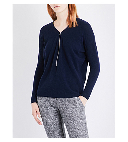 THE KOOPLES Zip-detail wool and cashmere-blend jumper (Nav01