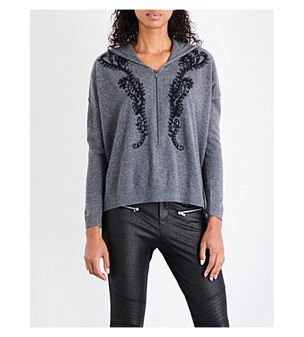 THE KOOPLES SPORT Embroidered cashmere hoody (Gry23