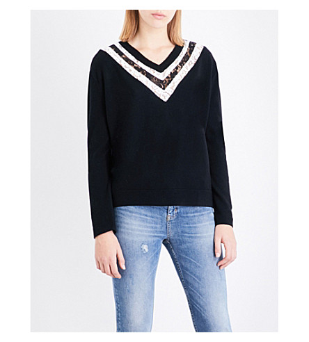 THE KOOPLES Floral-lace wool and cashmere blend jumper (Bla01