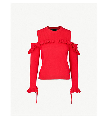 THE KOOPLES Ruffled cold-shoulder wool jumper (Red01