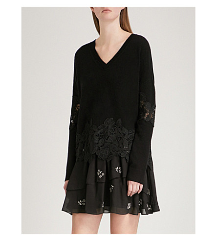 THE KOOPLES Lace-detail wool and cashmere-blend jumper (Bla01
