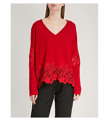 THE KOOPLES Lace-detail wool and cashmere-blend jumper (Red01