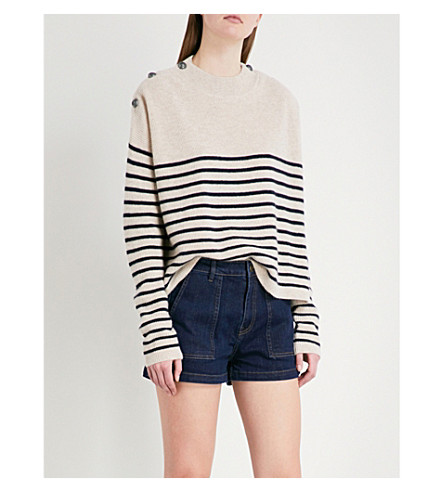 THE KOOPLES Striped button-detail cashmere jumper (Cam08