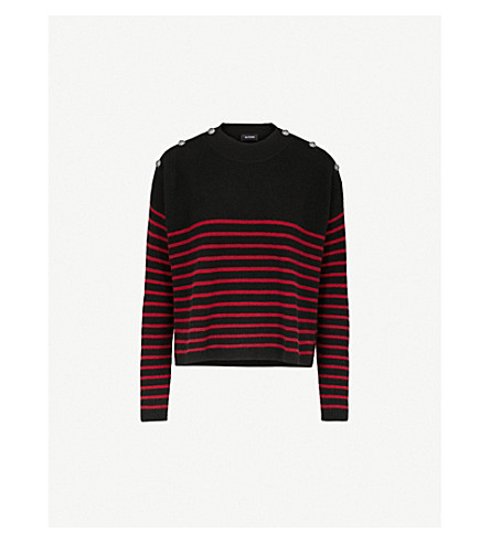 THE KOOPLES Striped button-detail cashmere jumper (Red19